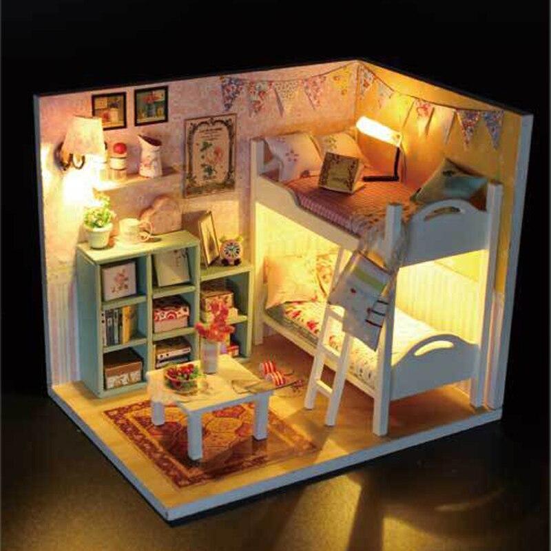 DIY кукольная Миниатюра с мебелью творческий ручной работы кукольный дом 3D деревянная модель собрана игрушки Шерил комнаты M020 # E