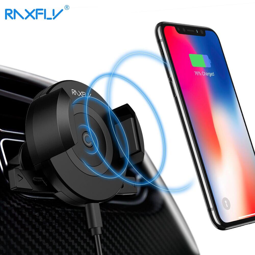 RAXFLY Wireless Caricabatteria Da Auto Per iPhone X 8 Air Vent Auto Supporto del telefono Caricabatteria Da Auto Per Samsung S9 S9PLUS Veloce Auto Senza Fili caricatore