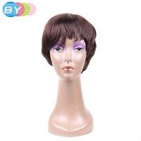 BY Hair Straight Brazilian Virgin Hair 4 Color Raw Hair Short Human Hair Bob Wigs For