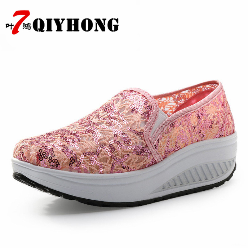 QIYHONG 2018 Sommer Frauen Flache Plattform Schuhe Frau Komfortable - Damenschuhe - Foto 3