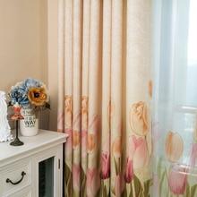 Amarillo púrpura cortinas para la sala de oro semi-tulipanes diseño floral cortinas gruesas cortinas blackout balcón cocina