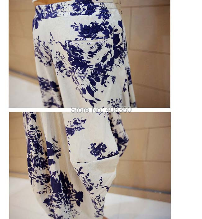 Blue-and-white Low Dropped Crotch Linen Harem Pant Mens Original Design Fashion Flower Loose Casual Summer Brand Beach Trousers 2015 HOT NEW (5).jpg