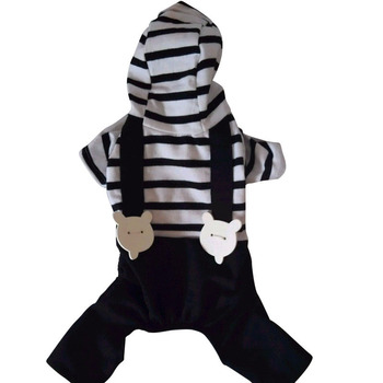 Small Pet Dog Clothes Cat Nice Hoodie Stripe Strap Jumpsuit T Shirt Puppy Soft Cotton Apparels Clothes S-XXL