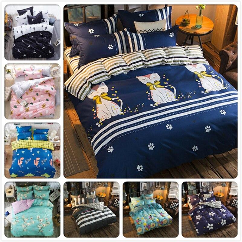 Cute Kitty Cat Deep Blue Stripe 4pcs Bedding Set Full King Queen Double Size Duvet Cover 1.5m 1.8m 2.0m 2.2m Bed Sheet Bedlinens Power Source
