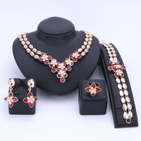 Wedding Women Rhinestones 6 Colors Crystal Jewelry Sets Bridal Party Accessories Gold Color Necklace African Beads Jewerly Sets