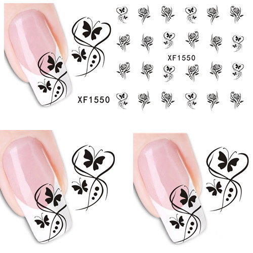 1 sheet Beautiful Flower Butterfly Design DIY Water Transfer Decal Stickers for French Nail Art Tips Decoration SAXF1550 1 sheet beautiful nail water transfer stickers flower art decal decoration manicure tip design diy nail art accessories xf1408