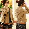 Women Hooded Woolen Coat 2016 New Arrival Double Breasted Slim Short Casual Blend Spring Outwear Jacket Female Overcoat ZL3463