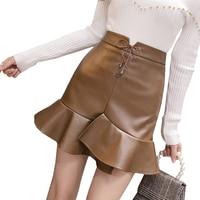 Sexy lace up split irregular ruffle female skirt mini short empire bodycon mermaid fishtail women's skirt 2018 autumn winter