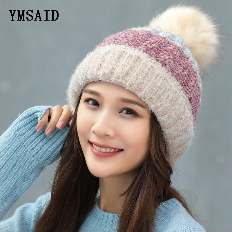 4bd7914c6f5 Detail Feedback Questions about Ymsaid 2018 Hot Selling Winter Skullies  Thicker Warm Hat For Women Wool Knitted Hat Beanies Cap Patchwork Fashion  Headgear ...