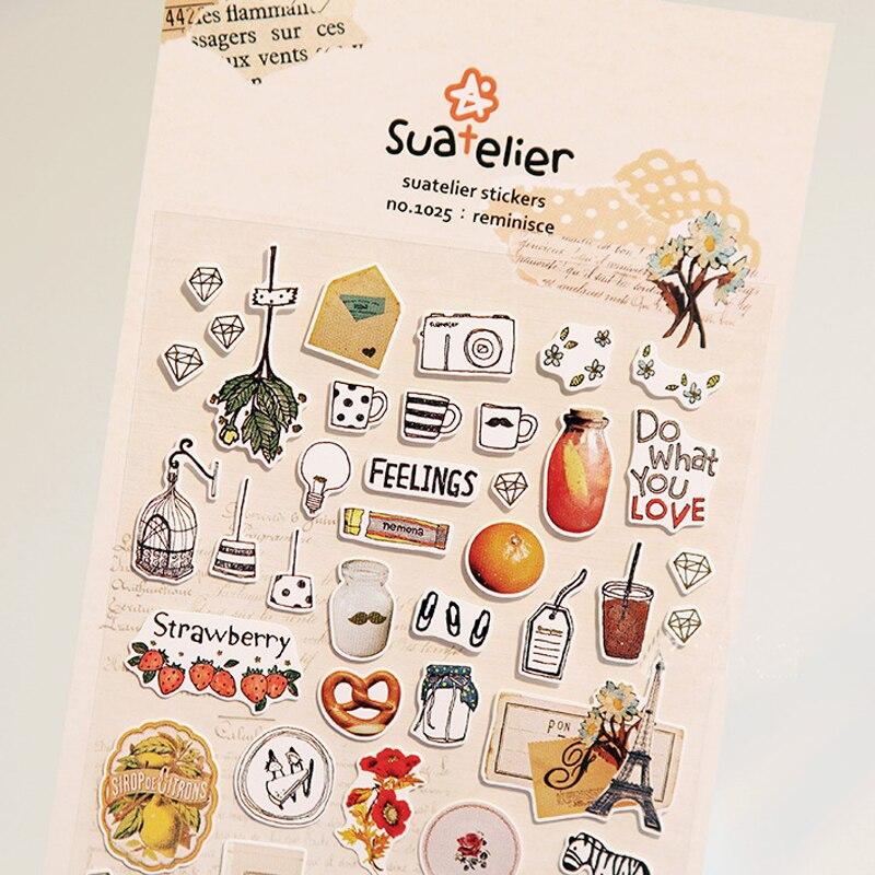 1 X SONIA Reminisce Paper Sticker DIY Decorative Sticker For Album Scrapbooking Kawaii Stationery Diary Sticker