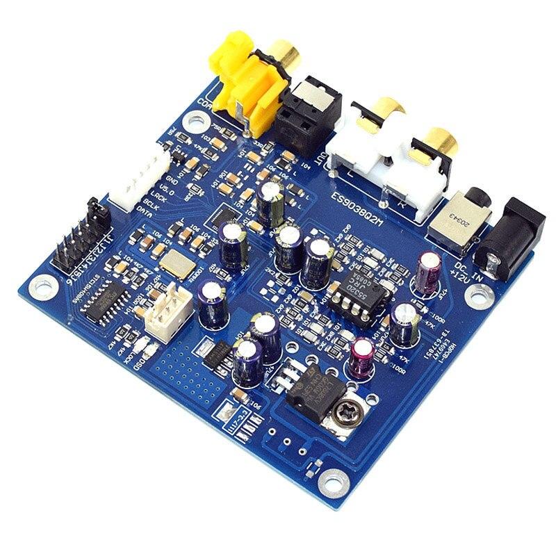 Hot Deal ES9038 Q2M I2S DSD optique Coaxial entrée décodeur USB DAC casque sortie HiFi Audio amplificateur Module de carte