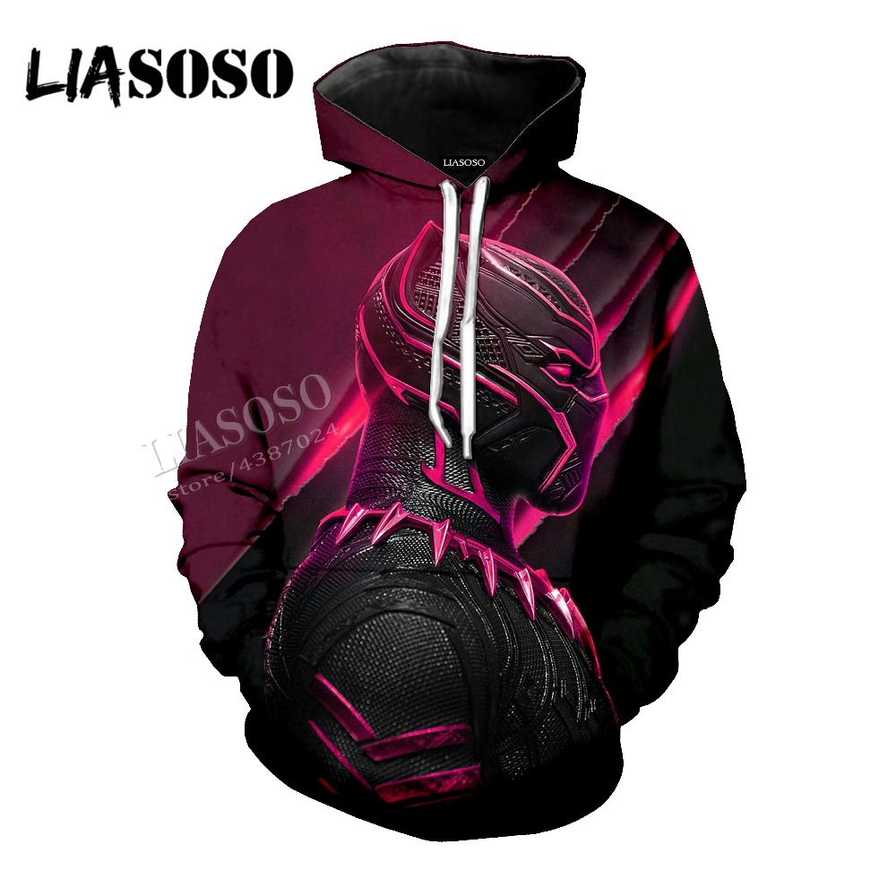 LIASOSO Neutral Pullover Marvel Comics Series 3D Print Black panther Tops / sweatshirt / Hoodie / Zip Hoodies CX066