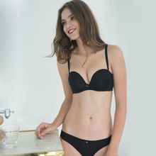 1/2 Cup New Lingerie Sets Glossy Pure Simple Seamless Solid Color Women Underwear Push up Sexy Cute gather Bra Set