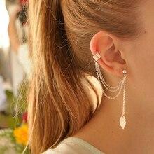 1PC New European Fashion Gold-color Long Metal Chain Ear Cuff