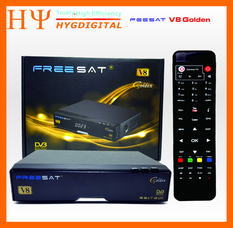 Genuine Freesat V8 Golden Satellite Receiver 3 in 1 combo DVB-S2+DVB-T2+DVB-C new upgrade V8 Pro Support Cccam Youtube freesat v7 combo wifi support dvb t2 s2 brand new satellite receiver twin tuner dvb s2 dvb t2 support cccam newcam free shipping