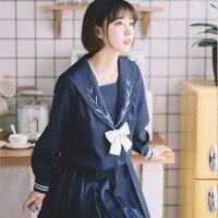 UPHYD Flower Embroidery Japanese JK Set Girls Student School Women Novelty Sailor Suits Girl cosplay Uniform