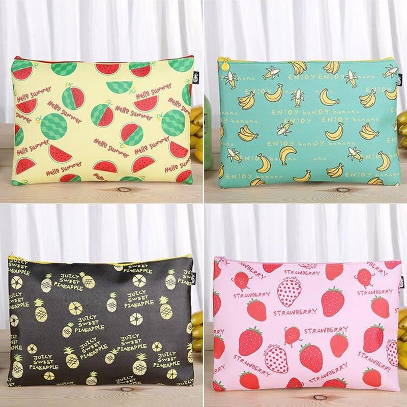 Fruit file bag pencil case file folder documents filling bag office school suppllies stationery bag fruit print pencil case