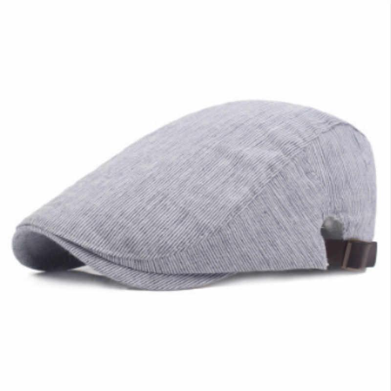 Которая в душе винтажная полосатая кепка мужская Регулируемая плоская кепка Женская Повседневная Ретро кепка газетчика французская летняя шляпа от солнца