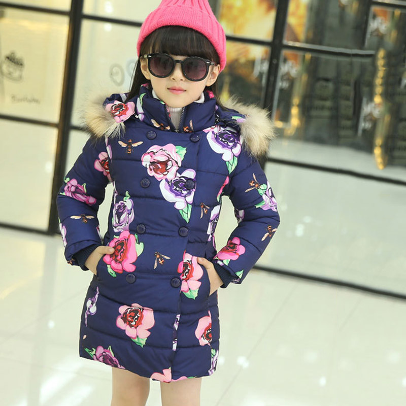 1 Pcs Fsahion Winter Long Tench Coat for Girls Flower Medium-long Children Clothing Cotton-padded Jacket with Fur Hood Cloth furry hood drawstring pockets zip up padded coat
