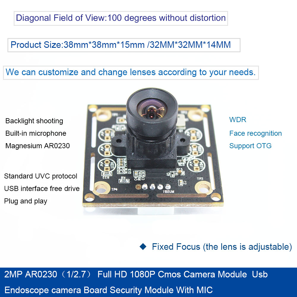 2MP AR0230(1/2.7) Full HD 1080P Cmos Camera Module 1920*1080 Usb endoscope camera Board Security