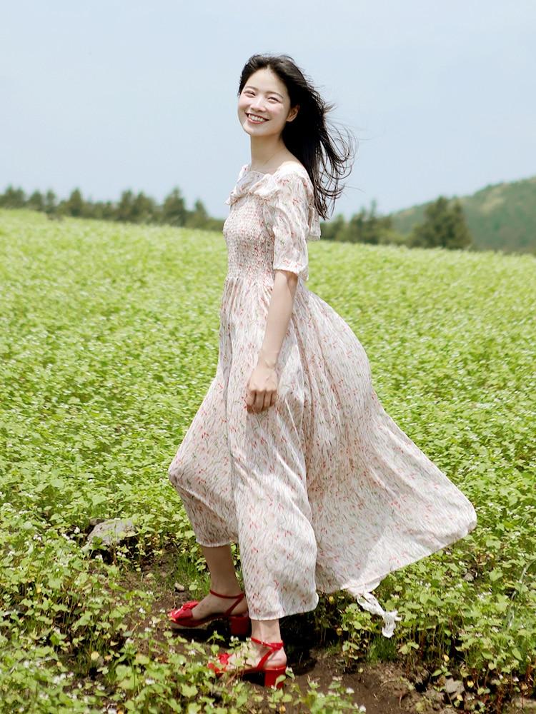 Vacances Robes Frais Soie D'été Chinoiserie Floral Lynette's Imprimé Femmes Romantique De Fée Mousseline Svfwn6q7x