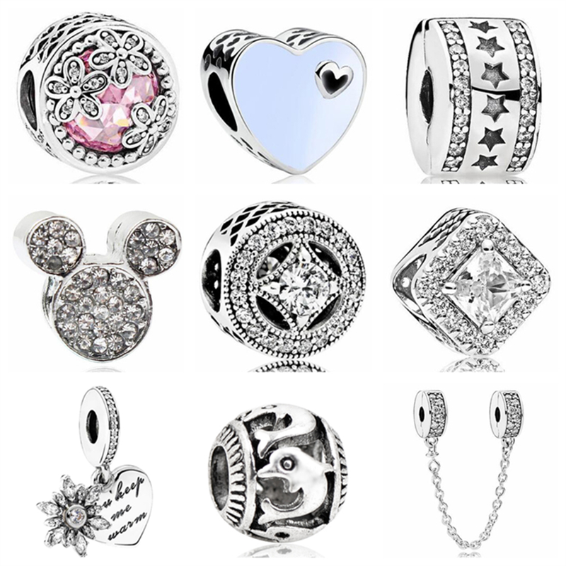 Btuamb New Arrival Love Heart Flower Mickey Cartoon Crystal Beads Fit Original Pandora Charm Bracelets & Bangles DIY Jewelry(China)