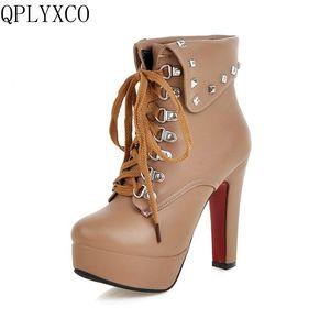 QPLYXCO/2017 г. Большие размеры 30-50, русская обувь короткие ботинки «мартинсы» Женская обувь на молнии на высоком каблуке женские ботильоны на шну...