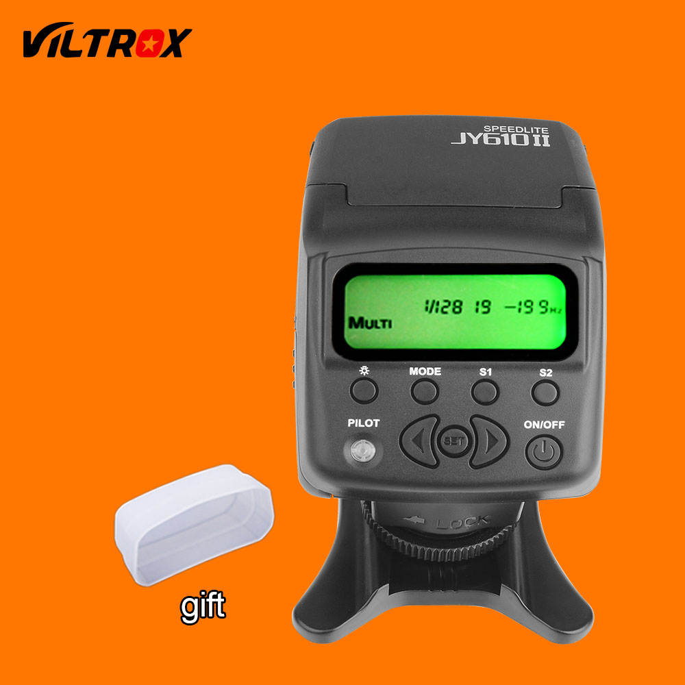 Viltrox JY-610II Mini LCD Flash Speedlite + White Diffuser + Flash Stand for Canon Nikon Pentax Olympus Sony A7 A6000 A6300 flash diffuser for sony hvl f58am white