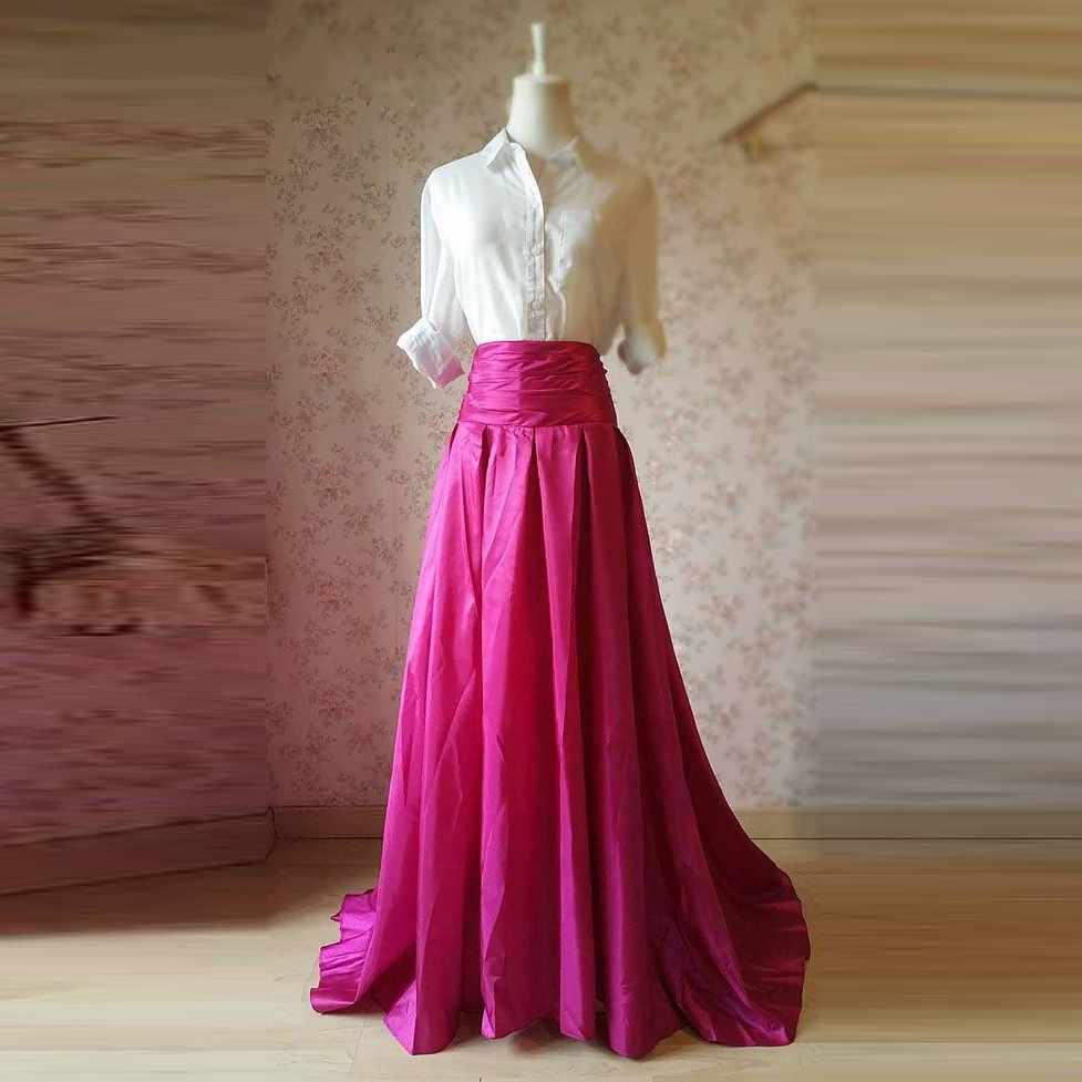 766b3e8710 Fucsia Vintage Falda larga de tafetán mujeres a Prom plisado A-line  femenino adulto Maxi