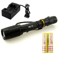 Led Flashlight 5000 Lumens Cree Zoom Aluminium Outdoor 5000lm T6 Torch Light Charger 2pcs 18650 Battery