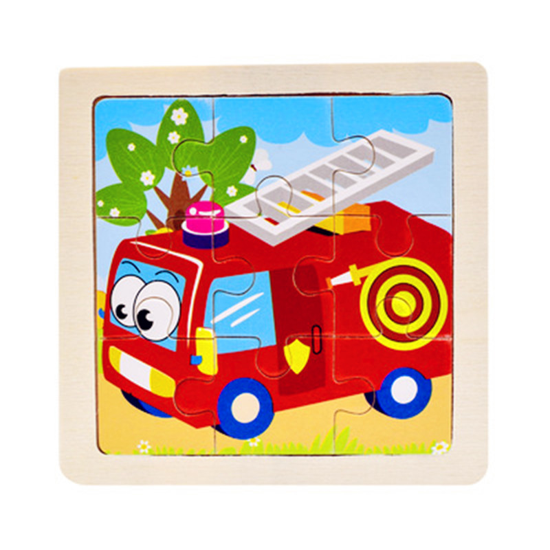 Мини Размер 11*11 см детская игрушка деревянная головоломка деревянная 3D головоломка для детей Детские Мультяшные животные/дорожные Пазлы обучающая игрушка - Цвет: Красный