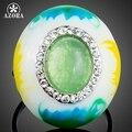 AZORA Design Único Ovo Oval Opal Surround TR0153 Stellux Cristal Austríaco Pintura A Óleo Padrão Tamanho do Anel Ajustável