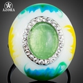 AZORA Unique Design Oval Egg Opal Surround Stellux Austrian Crystal Oil Painting Pattern Adjustable Size Ring TR0153