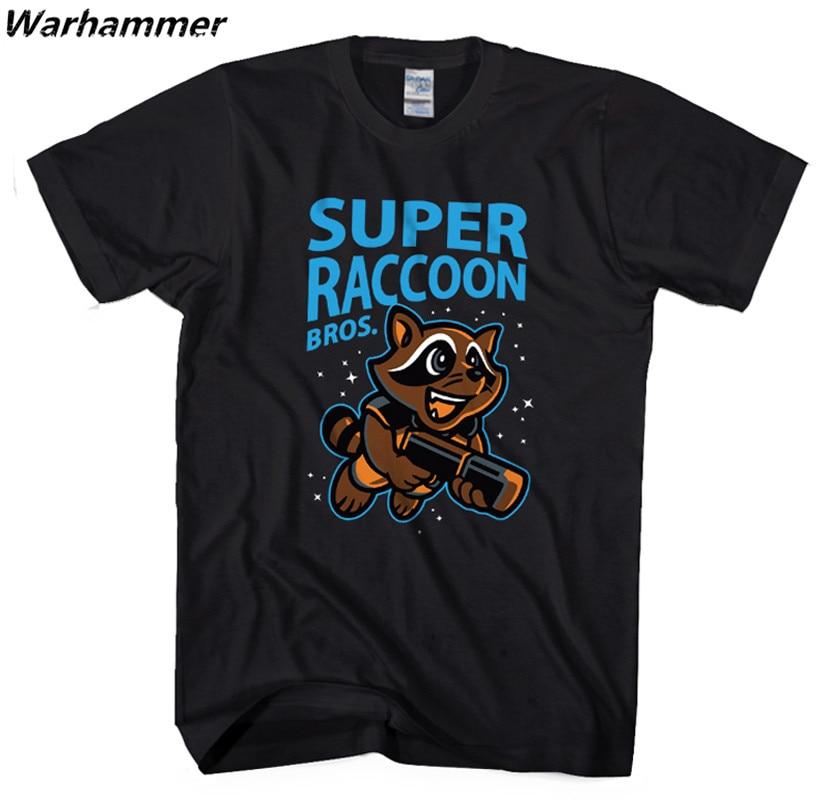 Warhammer Marvels Super Raccoon Bros T shirt Men Guardians Of The Galaxy Summer Cotton Tee Shirt O-neck Short Sleeve2XL T-Shirt