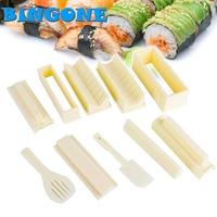 Neue 10 Teile/satz DIY Sushi Maker Reis Gerät + Gabel + spatel Küche Kreative Sushi Reis Roll-formenbau Sets Stellen Sushi Werkzeuge-FF