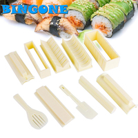 New 10Pcs/Set DIY Sushi Maker Rice Device Mold + Fork + Spatula Kitchen Creative Sushi Rice Roll Mould Sets Make Sushi Tools FF