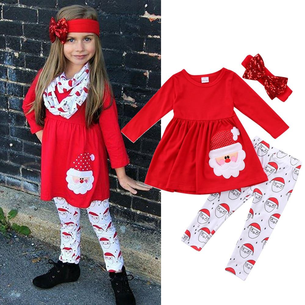 Kids Baby Girl Christmas Clothes Santa Claus Print Long Sleeve Red -9520