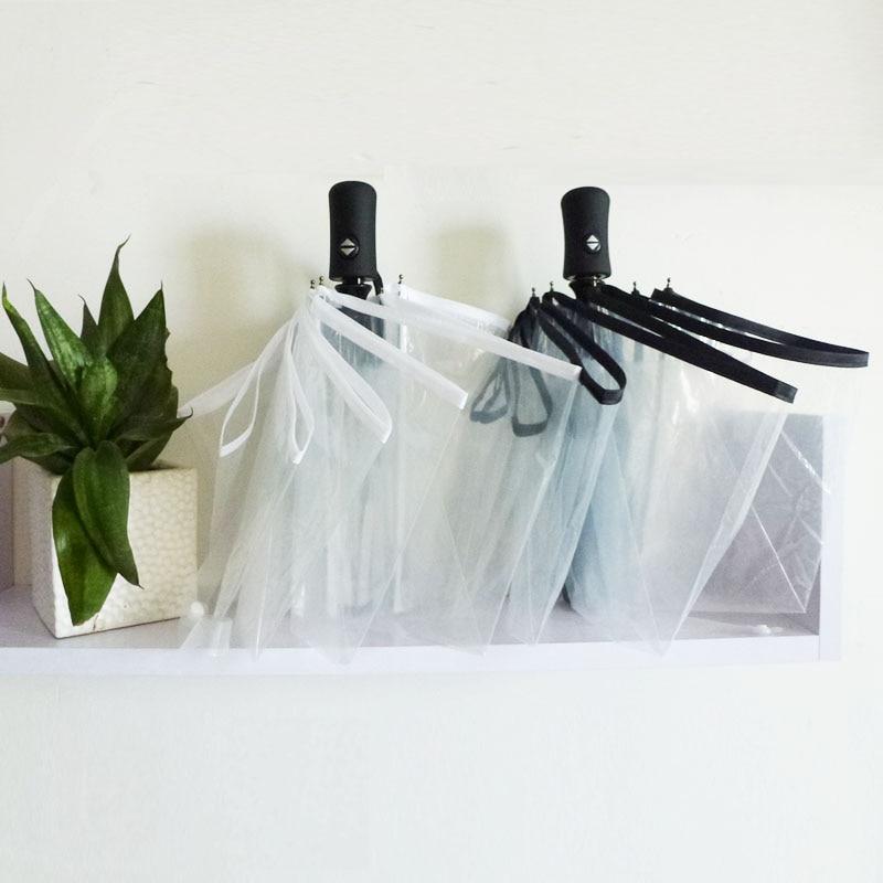 Payung Transparan Otomatis Penuh 3 Payung Lipat Hujan Fashion Wanita - Barang-barang rumah tangga