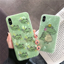 Cartoon crocodile glitter fritillaria case phone for coque iphone xr xs max x 8 6 s 7 plus green bling sparkling conch shell i10