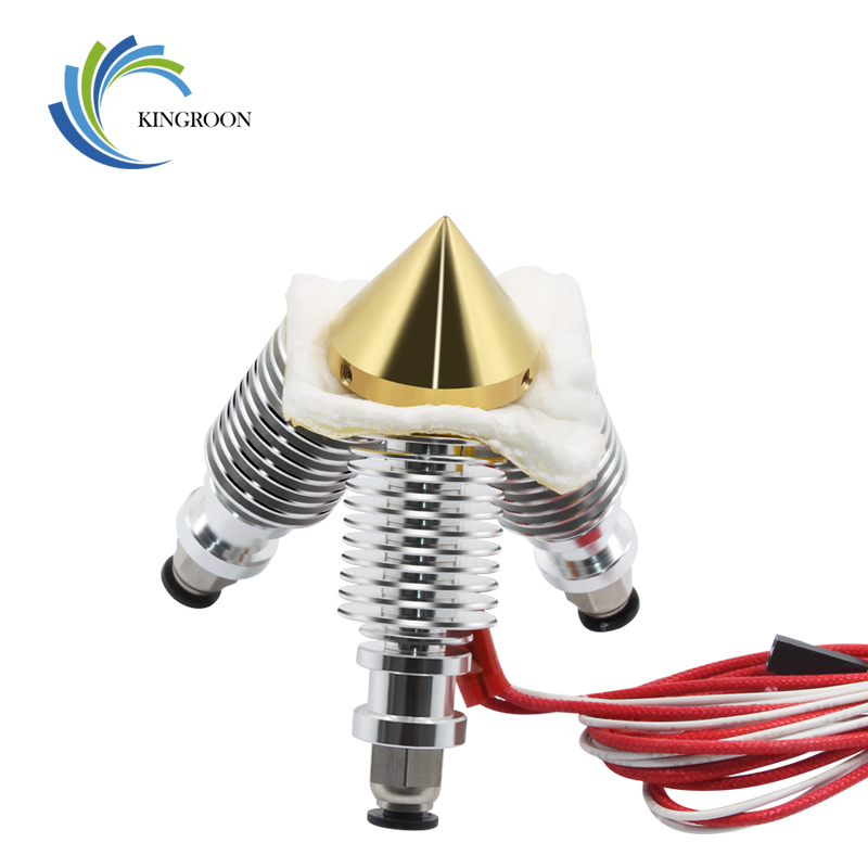 3 in 1 out Brass Diamond 0.4mm Nozzle Extruder Multi V6 Bowden Extrusion Remote Hotend 3D Printer Parts 12V24W Hot End 1.75 Part