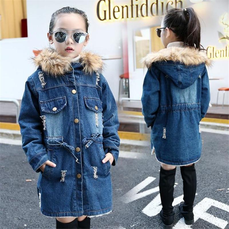 Winter Girls Jacket Overcoat Children Fleece Clothes Denim Tops Warm Clothing Kids Coats Cotton Hooded Outwear For Girl Snowcoat