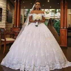 Robe De Mariage Роскошные блестящие белые свадебные платья 2019 с открытыми плечами Блестки Кружева Свадебные платья для невесты Vestido De Novia