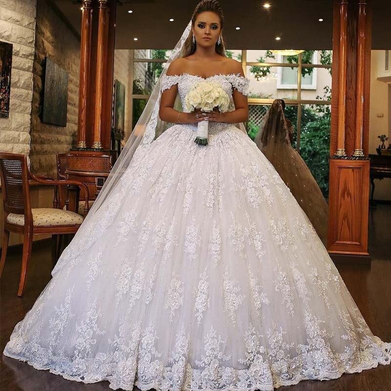 Robe De Mariage Luxury Bling White Wedding Dresses 2019 Off The Shoulder Sequins Lace Bride Wedding Gowns Vestido De Novia