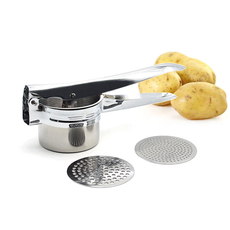 Large Sturdy Stainless Steel Potato Ricer with 2 interchangeable disks Potato Masher