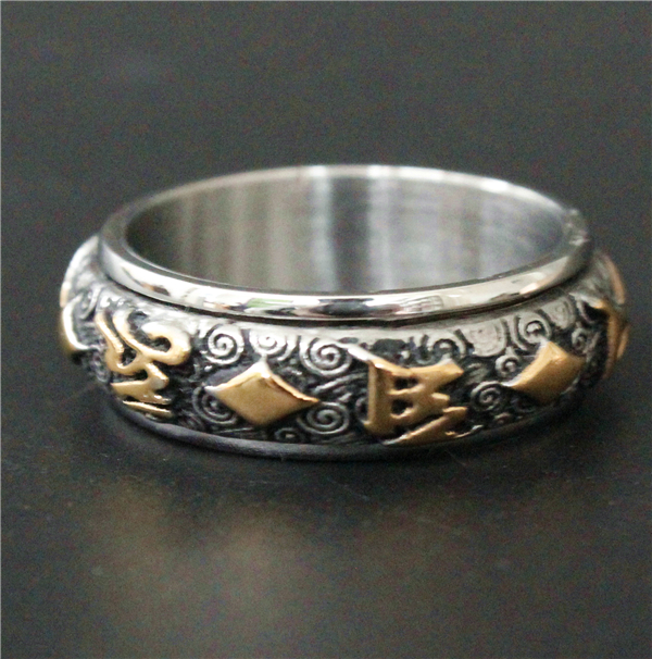 Silver And Gold Leters: 2017 Cool Spinner Biker Ring 316L Stainless Steel Mens