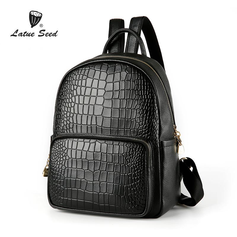 Latue Seed Backpack Women Genuine Leather 2018 New Solid Wild Tide Oxford Cloth Casual Ladies Fashion Backpack Black backpack women new backpack girl korean fashion oxford cloth soft leather back black bags