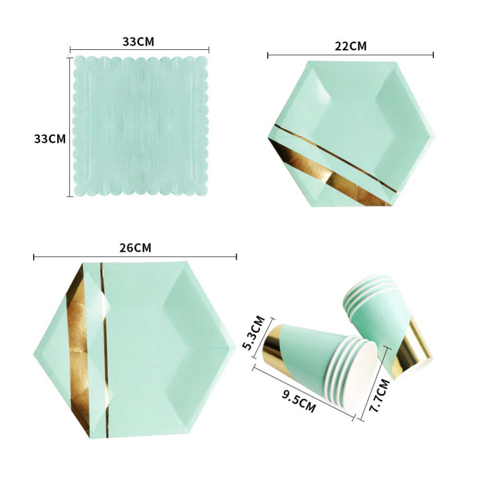 1pack pink green Chevron dot Disposable tableware Stamping ...