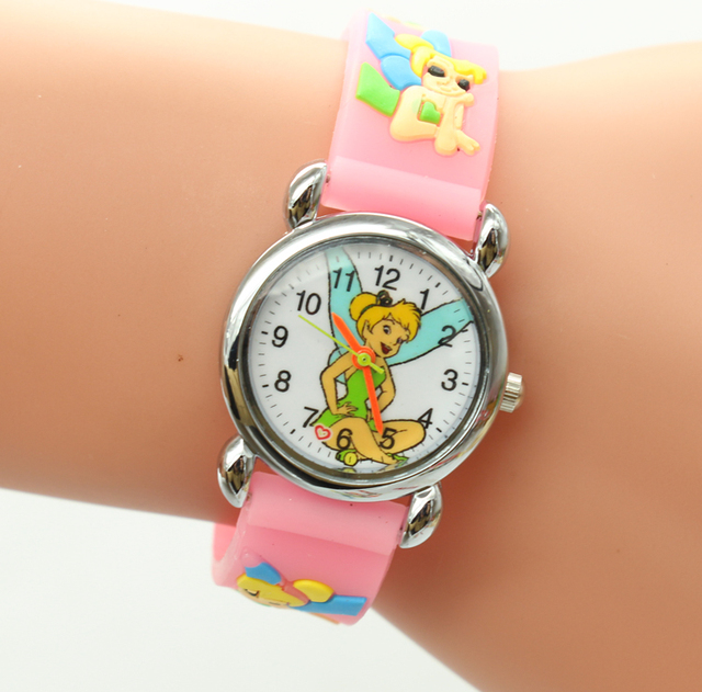 Free Shipping 1pcs Lovely 3D Cartoon Thinker Bell friends Watch Children Kids Gi