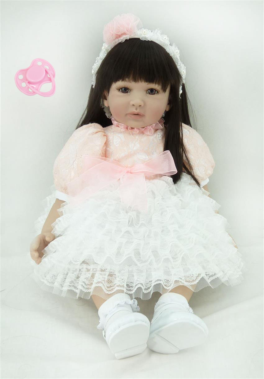 60cm Silicone Vinyl Reborn Like Real Baby Doll Toy 24inch Princess Toddler Girl Babies Doll Birthday Gift Play House Bedtime Toy 60cm silicone vinyl reborn girl baby doll toys 24inch princess toddler babies dolls child fashion birthday gift play house toy