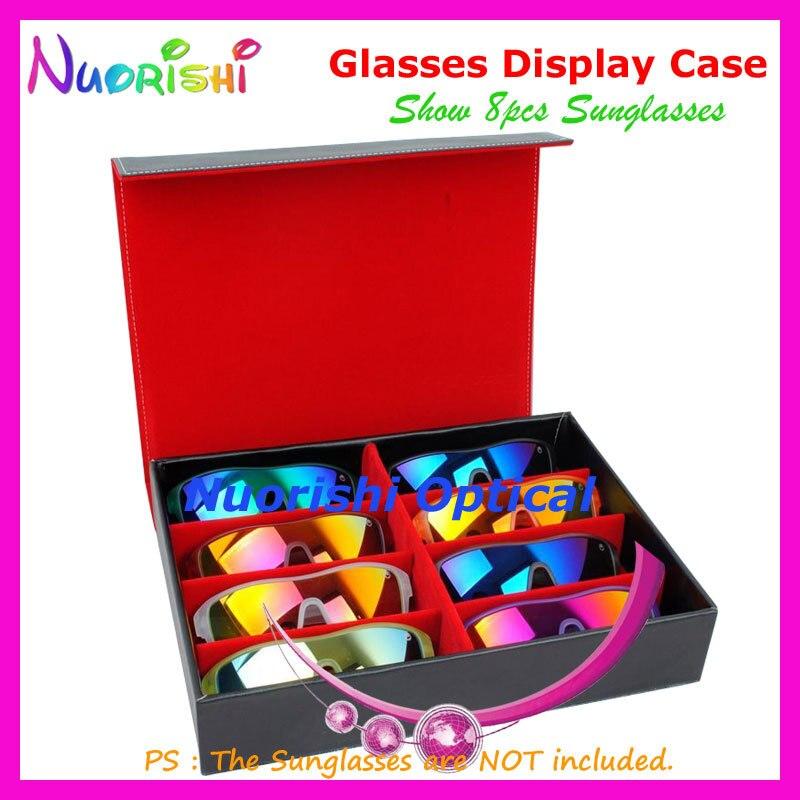 Black Leather Storage Display Sample Case Box Tray For Holding 8pcs Sunglasses Glasses Eyewear Eyeglass A635-8S Free Shipping